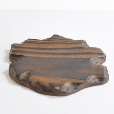 盆栽台 花台 新着セール 敷物 焼き杉の手掘り花台 小 雲形 植木鉢 幅13cm×12cm 信用