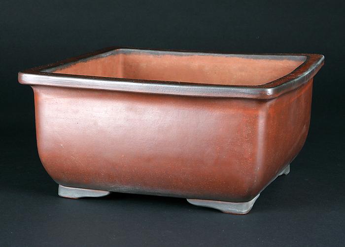 古渡紅泥外縁段足正方鉢
