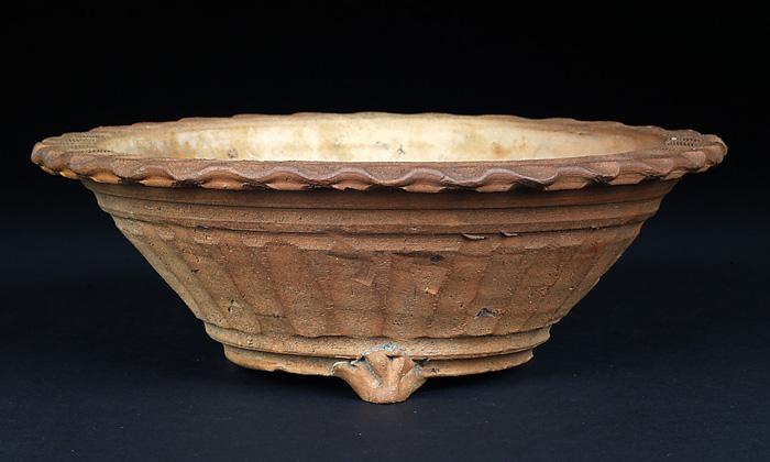 道八焼締縄縁丸鉢