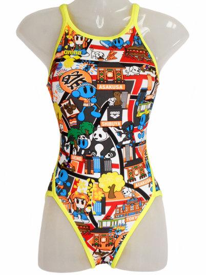 ARENA(アリーナ) レディース 練習水着 スーパーフライバック タフスーツ(オレンジ・ブルー)[FSA-9620W(ORBU)]【水泳 水着】 練習用水着 女性用 スイムウェアタフスーツ ミディアムカット