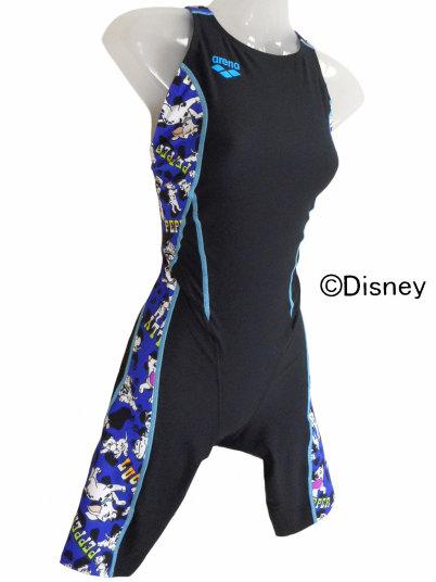 ARENA(アリーナ) レディース 練習水着 ディズニー タフハーフスパッツ 着やストラップ(Kブラック×ブルー)[DIS-0305W(BKBU)]【水泳 水着】 練習用水着女性用 スイムウェアタフスーツ ハーフスパッツ レッグスーツ 101匹ワンちゃん