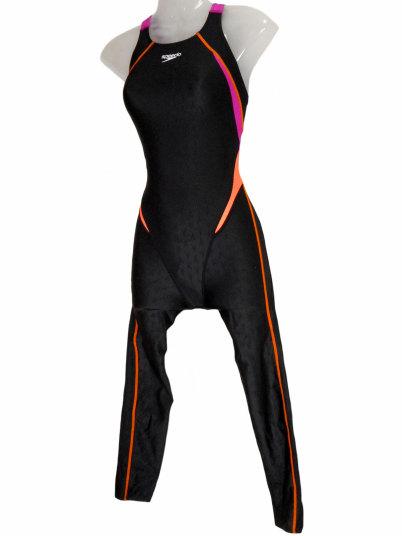 SPEEDO(スピード) レディース 競泳水着 フレックスシグマ2 ロングレッグ セミオープンバックニースキン (ブラック×マジェンタ)★Oサイズ[SD48G08(KM)] 【水泳 水着】 競泳用水着 女性用ハーフスパッツ レッグスーツ ロングレッグ マスターズ