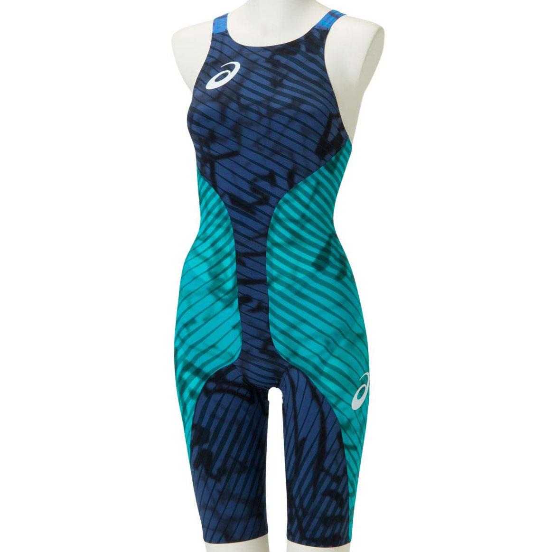 asics(アシックス)世界水泳モデル! FINA認可モデル レディース 競泳水着 トップインパクトライン トップモデル ハーフスパッツ (ネイビー×バルチックジュエル)[2162A035-300]【水泳 水着】競泳用水着 女性用 スイムウェアハーフスーツ