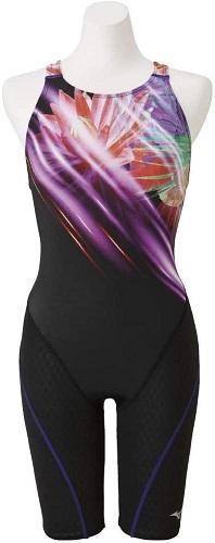 MIZUNO(ミズノ)FINA承認マーク付 競泳用 ストリームアクティバ ハーフスーツ(オープン) (レディース) (N2MG975367) パープル M