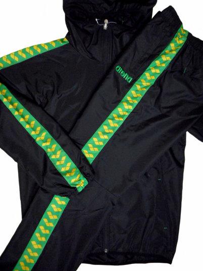 ARENA(アリーナ) タフタ チームライン ウィンドジャケット + ロングパンツ 上下セット(ブラック×グリーン)[ARF-7502,ARF-7504P(BKGN)]【水泳 水着】 競泳用ウェア 水泳用品ウインドアップジャケット トレーニングウェア セットアップ メンズ レディース