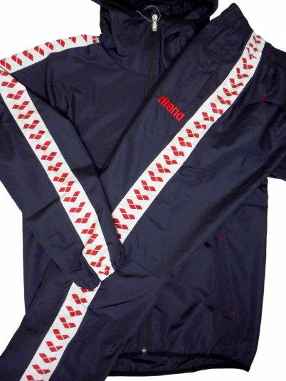 ARENA(アリーナ) タフタ チームライン ウィンドジャケット + ロングパンツ 上下セット(トリコロール)[ARF-7502,ARF-7504P(TRC)]【水泳 水着】 競泳用ウェア 水泳用品ウインドアップジャケット トレーニングウェア セットアップ メンズ レディース