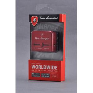 브라이튼 넷/BrightonNET Lamborghini Worldwide Travel Adaptor with USB Charger 람보르기니 USB 카 차저 여행 어댑터 유니버설 전원 플러그 LED 점등 AC어댑터 휴대성 편리 4528888022526