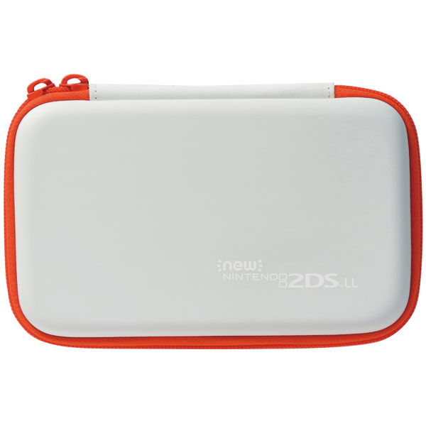 【2DSLL】 スリムハードポーチ for Newニンテンドー2DS LL ホワイト×オレンジ
