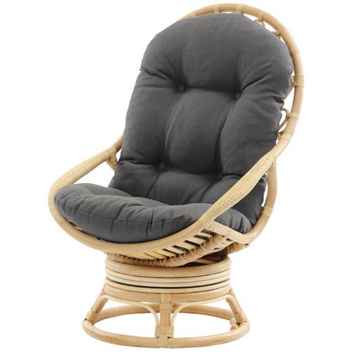 卵型ナチュラルリラックス籐製回転ソファチェア 幅64cm 籐 回転いす チェア 椅子 パーソナルチェア ハイバック リラックスチェア ラタン 木製 旅館 ホテル