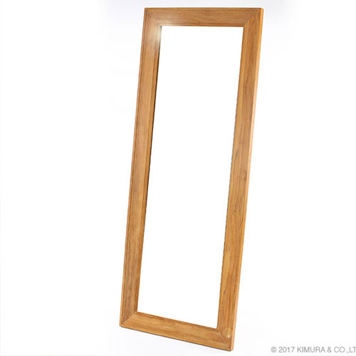チーク木製立て掛け式ウォールミラー 鏡 大型 全身 姿見 ウォールミラー スタンドミラー チーク 大判 木製