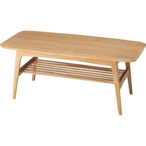 リビングテーブル 木製 棚付 インテリア ヘンリー 幅105cm テーブル 机 つくえ ローテーブル センターテーブル リビング 棚付き 収納付き リモコン収納 小物収納 雑貨収納 木目調 引っ越し 新生活 木製リビングテーブル 天然木 収納付きテーブル ウッド hot-534na