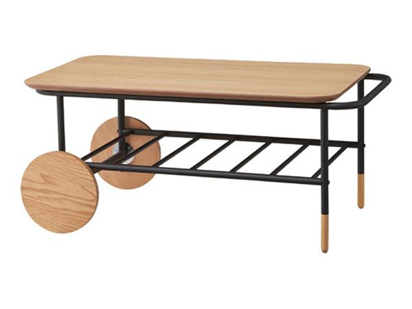 おしゃれ車輪デザインリビングテーブル オセロ 幅92cm センターテーブル ローテーブル リビングテーブル アートテーブル おしゃれ コーヒーテーブル テーブル 机 ウッドテーブル 棚付き