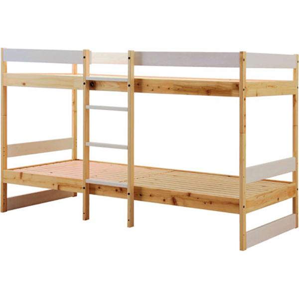 送料無料 NH01 ひのきの二段ベッド ホワイト×ナチュラル nh01b-hkw