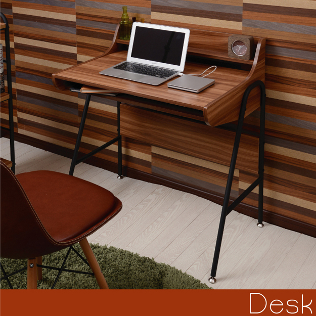 木製 デスク 幅79cm MUSH アイアン パイプ 収納 北欧 机 パソコン ライティングデスク 書斎 ユニット 棚付き パソコンデスク PCデスク ツートンカラー 背面収納