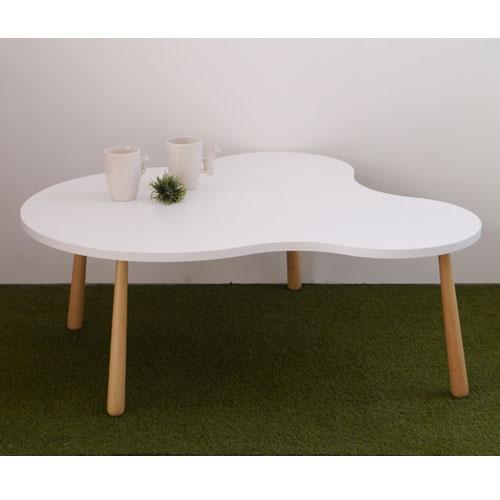 幅105cm 送料無料 クル L ga-ctablel-wh アシンメトリーリビングテーブル ホワイト