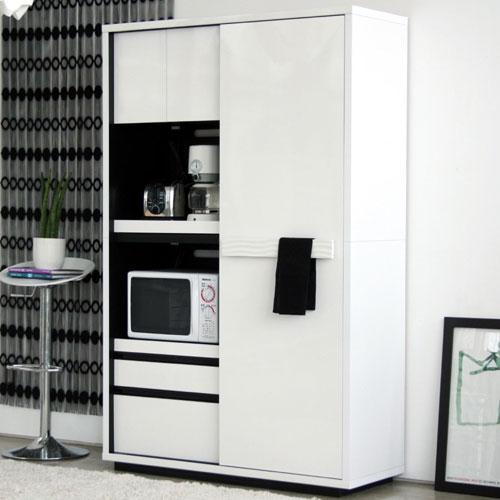 送料無料 引戸レンジ台兼食器棚 幅118cm高さ184cm シュール ga-su-kb-120-wh