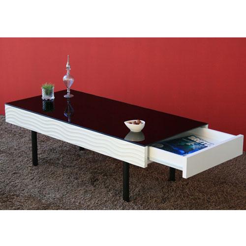 送料無料 ガラスリビングテーブル 幅105cm シュール ga-su-lt-wh