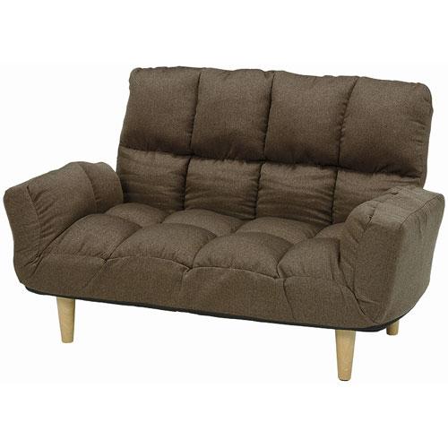 ハイバック2人掛けリクライニングソファ 幅118~160cm 布張 ブラウン