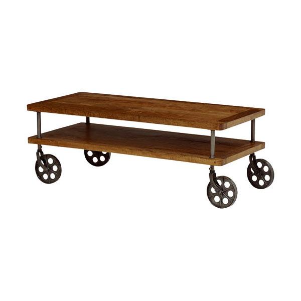 アイアン×天然木リビングテーブル リベルタ 幅110cm 車輪型キャスタータイプ