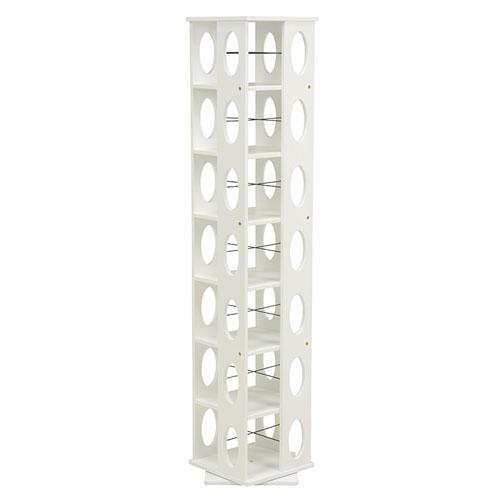 送料無料 回転式タワー本棚 幅34cm高さ167cm ホワイト MUD-6101WH★ hg-mud-6101wh
