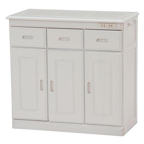 送料無料 キッチンカウンター 隠しキャスター付き 幅72cm高さ70cm ホワイト MUD-6123WH★ hg-mud-6123wh