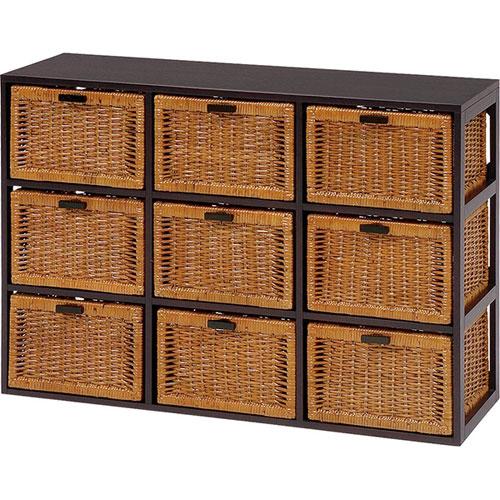 送料無料 天然木×籐製バスケットチェスト 枯淡 3列3段 幅104cm高さ72cm RN-2659★ hg-rn-2659