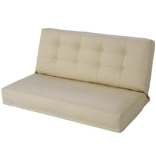 リクライニング座椅子 エンジェル W ダブル幅広2人掛け 合皮レザー アイボリー