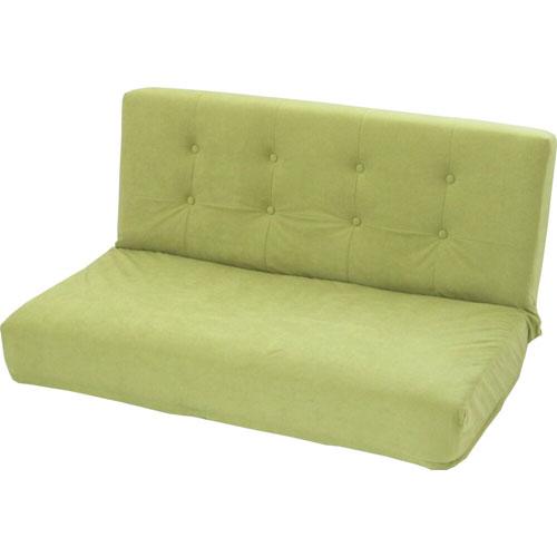 厚みのあるリクライニング座椅子 W ダブル幅広2人掛け スエード調 オリーブグリーン