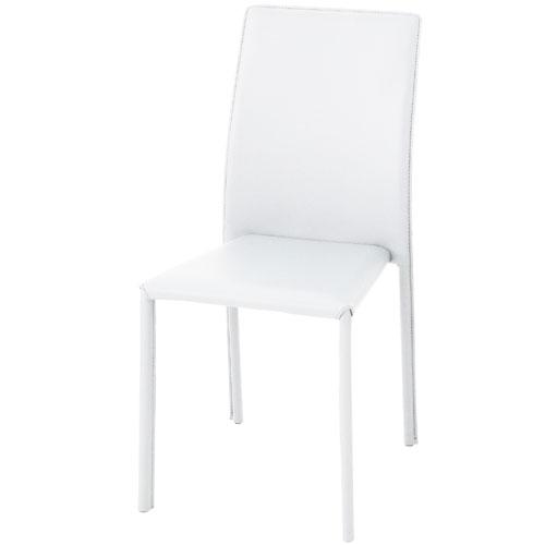 スタッキングチェア ブライト【4脚組】 ホワイト ダイニングチェアー キッチン イス 椅子 チェアー シンプル コンパクト 省スペース スタッキングチェアー 食卓椅子 食事椅子 食卓チェア 食事チェア