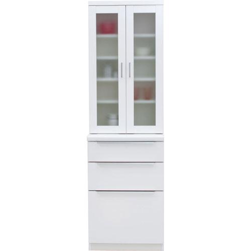 食器棚 コロン 幅61cm高さ200cm ホワイト cn-060db-wh