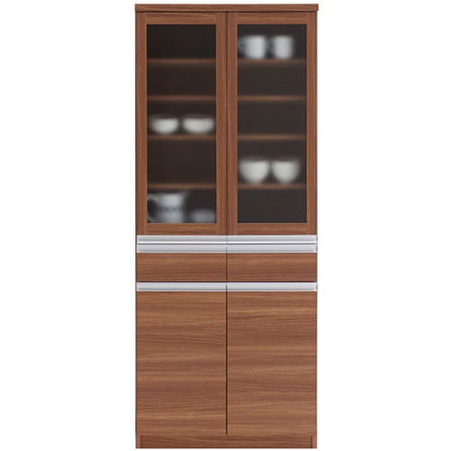 食器棚 ジャスト 幅74cm高さ180cm リアルウォールナット ekd-73g