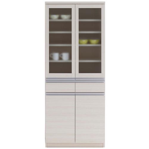 食器棚 ジャスト 幅74cm高さ180cm ホワイトウッド eks-73g