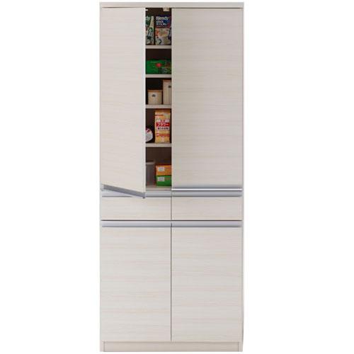キッチンストッカー戸棚 ジャスト 幅74cm高さ180cm ホワイトウッド eks-73t