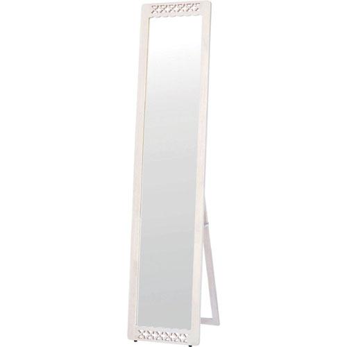 スタンドミラー(鏡) 幅36cm 糸のこ細工 ホワイト scv-001whw