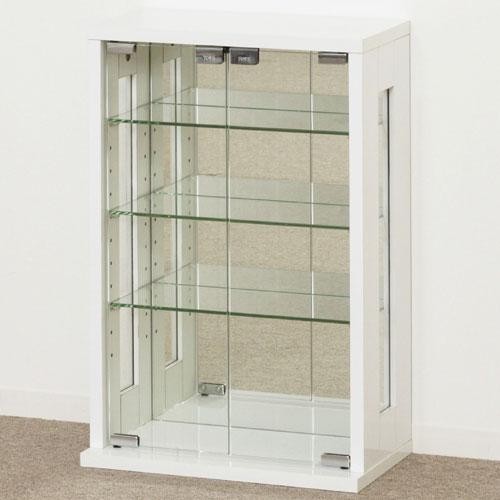 送料無料 コレクションケース 木製 ガラス 縦型 ホワイト 卓上コレクションケース コレクションラック 棚 フィギュアラック フィギュアケース フィギュア収納 シェルフ 収納棚 27060
