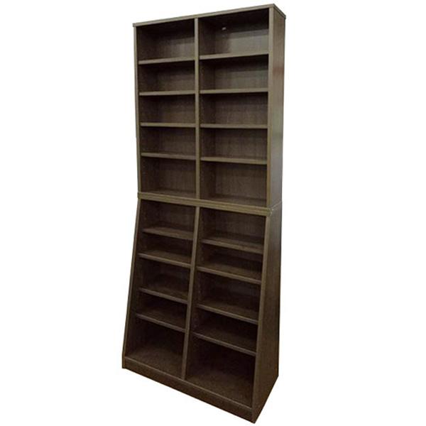 送料無料 本棚 幅75cm高さ180cm ウォールナット SOHO書棚 薄型 オープンラック 本棚 書庫 シェルフ 分割可能 コミック CD DVD 文庫本 辞書 ブックシェルフ 31142