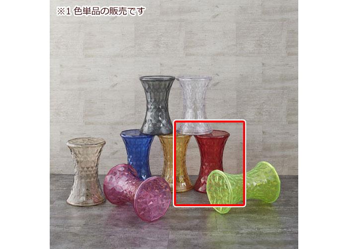 透明クリスタル風サイドテーブル スケルトン レッド ミニテーブル カフェテーブル サイドテーブル 円卓 丸型 円形 ソファサイド リビング 机 台 透明