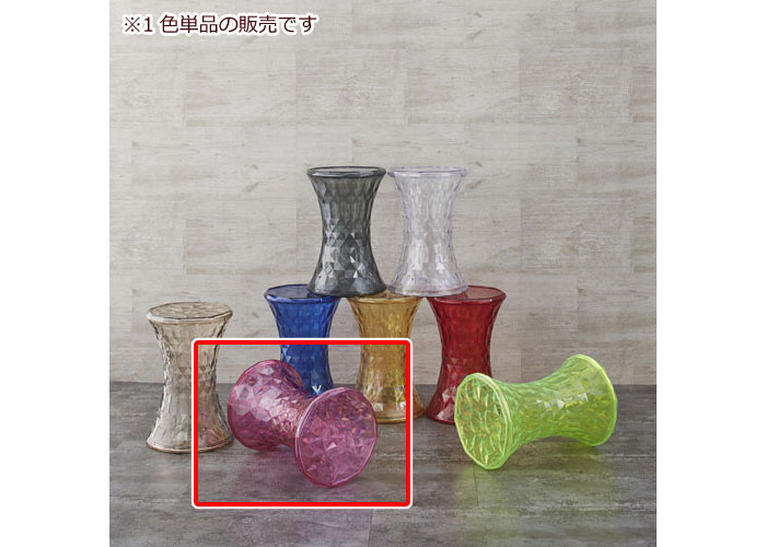 透明クリスタル風サイドテーブル スケルトン ピンク ミニテーブル カフェテーブル サイドテーブル 円卓 丸型 円形 ソファサイド リビング 机 台 透明