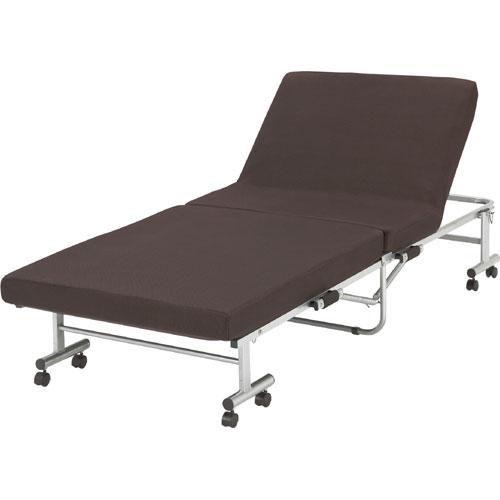 ワンタッチ折りたたみリクライニングベッド 低反発 ブラウン rb-b9627