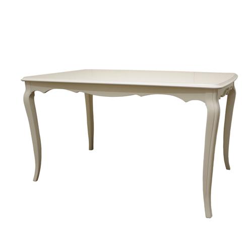 送料無料 アンティーク調猫足ダイニングテーブル リモージュW 幅130cm ホワイト 781907