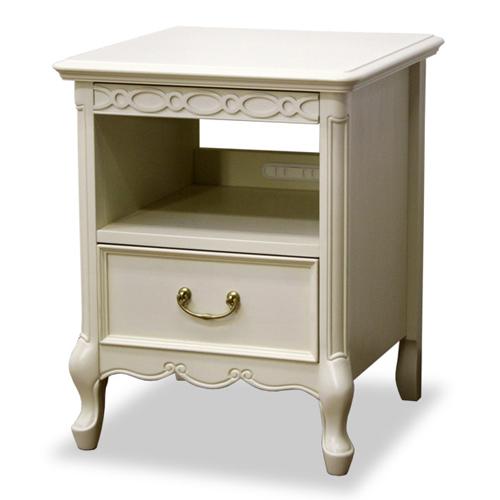 送料無料 クラシカル猫足ナイトテーブル フルール 幅40cm高さ50cm ホワイト 783277