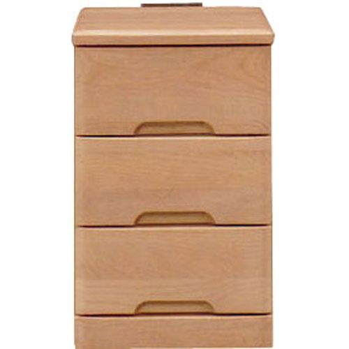 ナイトテーブルチェスト スカーレット 幅30cm高さ48cm 3段 ナチュラル