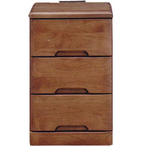 ナイトテーブルチェスト スカーレット 幅30cm高さ48cm 3段 ダークブラウン