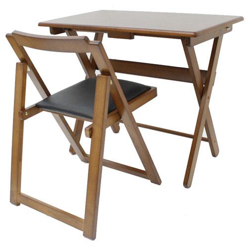 折りたたみ木製デスク&チェアセット ブラウン