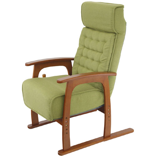 高さ4段階調節肘付リクライニング高座椅子 若葉