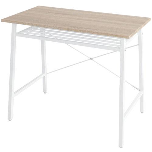 デスク 棚付き 勉強机 スチールフレーム 棚付き シンプル 勉強机 リリー 幅90cm シンプル ナチュラル/ホワイト, Smart Style:30c12f9e --- officewill.xsrv.jp