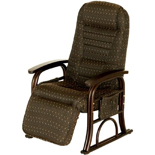 【漣 さざなみ】ラタンフットレスト付き高座椅子 ブラウン