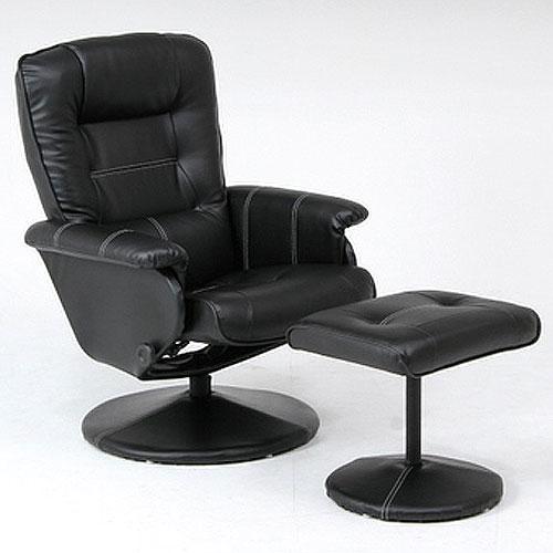 回転パーソナルリクライニングチェア オットマン付 ブラック b-79604