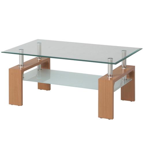 ガラスリビングテーブル フォーカス 幅100cm ナチュラル b-88420