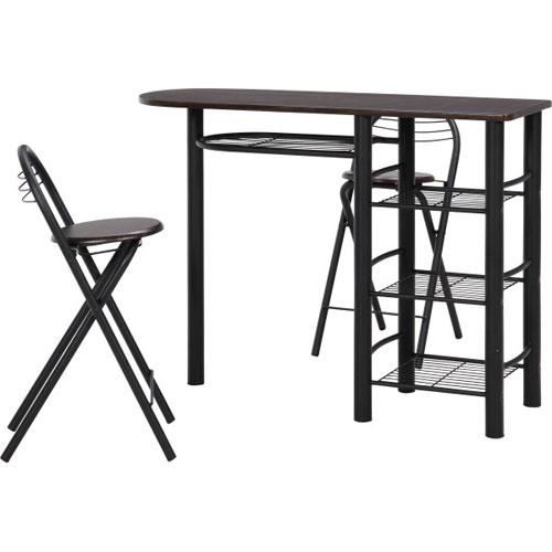 カウンターテーブル&チェアセット ブラウン&ブラック b-95247